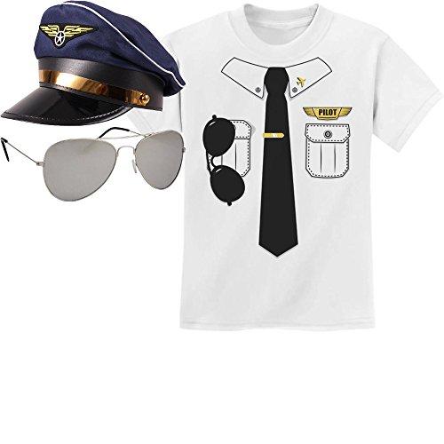 KIDS Pilot Pilotenkostüm Karneval SET Pilotenhemd Kinder T-Shirt, Mütze, Pilotenbrille, Shirt - Gr. 140-182 Medium Weiß