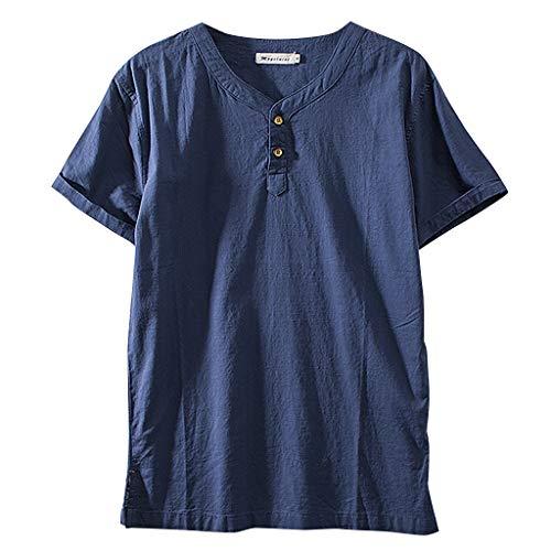 Fenverk Herren Hemd Leinenhemd Sommer Kurzarm Slim Fit Leicht Business Hochzeit Reine Farbe Mode Button Down Strand Shirts Casual Blusen(Marine E,XXXXL)