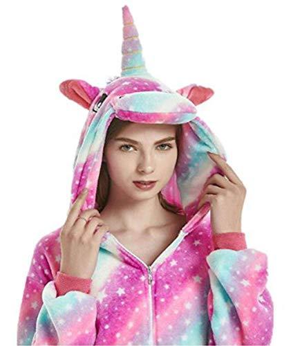 JXUFUFOO Pijama Unicornio Disfraz Cosplay Onesie Animal Ropa de Dormir Halloween Carnaval para Mujer Hombre,Estrella,XL(Altura 1,78m-1,91m)