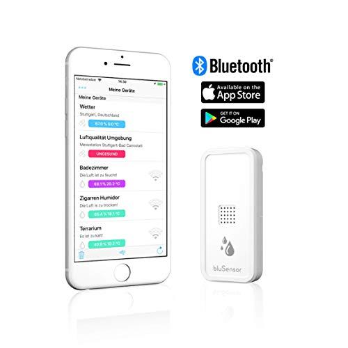 BluSensor® AIR - Bluetooth Hygrometer/Thermometer - Qualitätssensor und Datenlogger für Temperatur/Luftfeuchtigkeit - inkl. gratis App für Fernabfragen - Made IN Germany