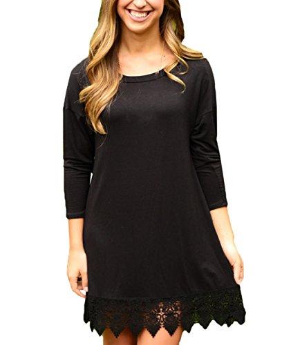 Scothen Mesdames A-ligne de dentelle panicule rétro robe à manches longues mini-tassel conception claire robe en mousseline de soie à tricoter dentelle à Jumper Shirt Blouse Tops T-shirt Noir