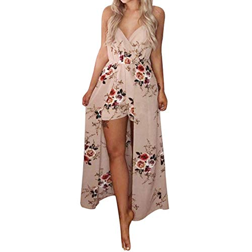 OYSOHE Damen Jumpsuit Sommer V-Ausschnitt Ärmellos Blume Party Overall Kleid Playsuit ()