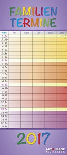 Regenbogen 2017 - A&I Familienplaner mit 5 Spalten, Familienkalender  -  19,5 x 45 cm - Regenbogen-farbigen Sternen