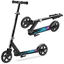 ENKEEO Patinete Plegable Scooter Kick con Manillar Ajustable, Ruedas Extra-Grande, Sistema de
