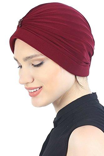 Deresina Headwear Turban Mit Perle (Burgund)