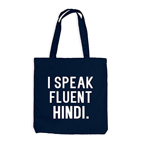 Jutebeutel - I speak fluent Hindi - Sprache Navy