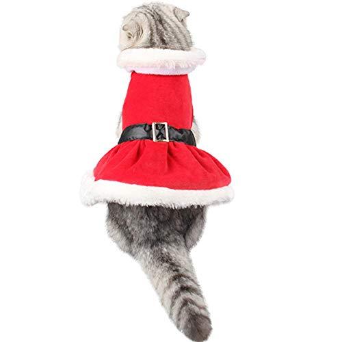ANIAC Pet Weihnachten Santa Kostüm, Winter Röcke mit Fell Halsband für Katzen und Kleine Hunde rot (Santa Rock Kostüm)