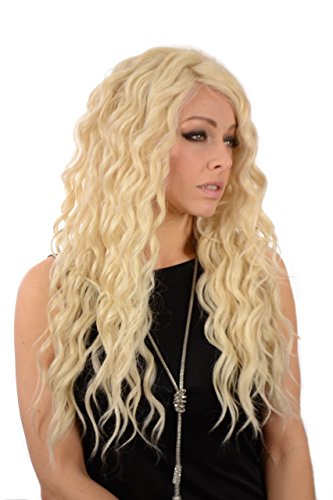 Perruque Blonde Platine Longue Lace Front Boucles Serrées Glamour