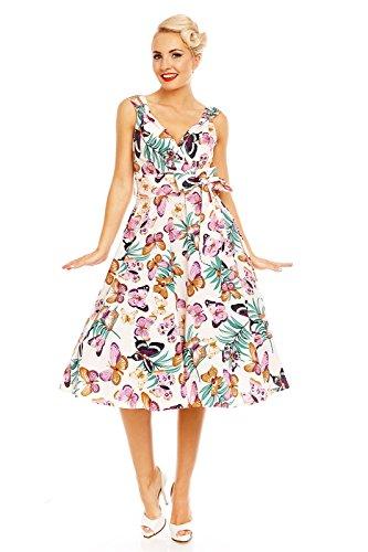 Looking Glam rétro vintage évasé rockabilly années 1950 FÊTE imprimé papillon robe - Moutarde, 42
