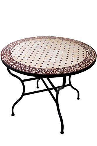 ORIGINAL Marokkanischer Mosaiktisch Gartentisch ø 100cm Groß rund klappbar | Runder klappbarer Mosaik Esstisch Mediterran | als Klapptisch für Balkon oder Garten | Meknes Natur Bordeaux 100cm