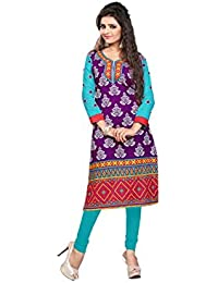 Nakoda Creation 3/4 Sleeve Paisley Print V Neck Cotton Kurti For Women,Multicolor_906stitched-Parent SKU