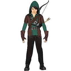 NET TOYS Disfraz niño Robin Hood Traje Infantil Arquero M 128/140 cm años 7 - 9 Atuendo Carnaval Cazador Ropa Caminante de los bosques Vestimenta Chico Guerrero Vestido Carnaval Cuento de Hadas