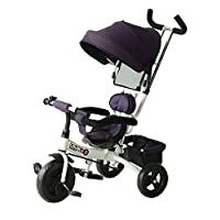 HOMCOM Kids Ride-on Tricycle for Children with Sun Canopy, Back Storage and Removable Parent Handle