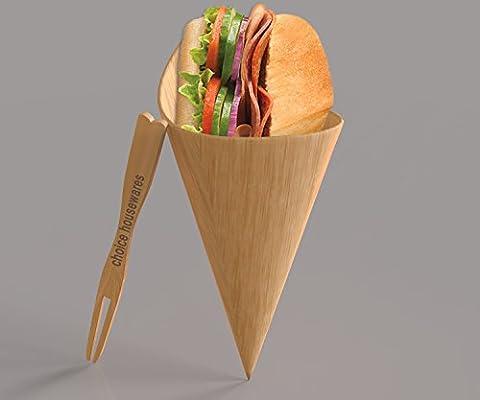 cornets en bambou avec nourriture en bois fourchettes | biodégradables jetables Buffet articles pour les fêtes, Apéritif, Snacks, Canapé| Lot de 100Cônes: 180x 130mm et 100pcs fourchettes: 9cm par Choix Housewares