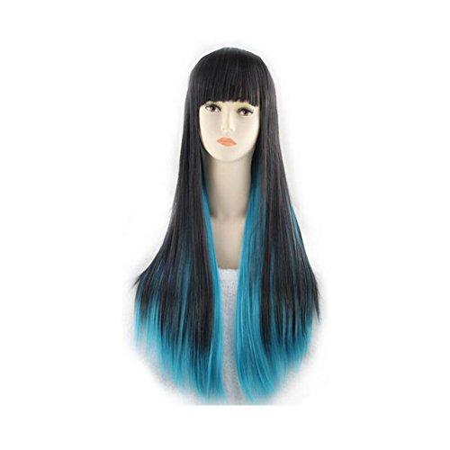Beatayang Fashion Perruque Postiche européennes Cosplay /Les cheveux raides cheveux longues Vert&Noir