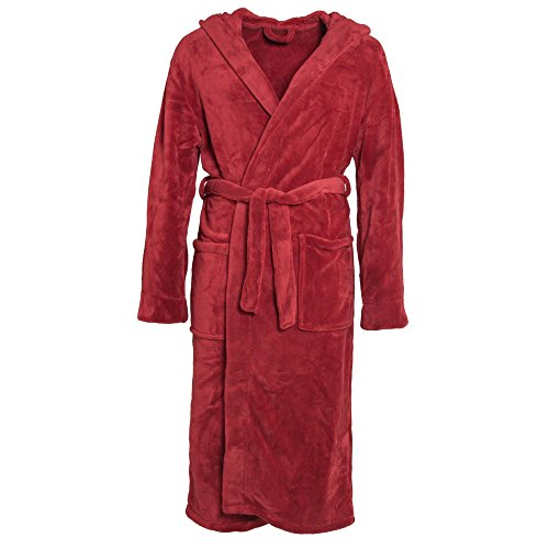 CelinaTex 0001474 Florida Damen Herren Bademantel Morgenmantel Saunamantel Kapuze Mikrofaser Coralfleece XXXL chili rot