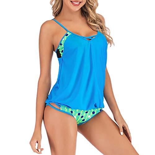 KPILP Damen Bademode Monokinis Plus Size Print Tankini Badeanzug Beachwear Gepolsterte Badebekleidung Bikini-Sets Urlaub Sommer Pareos Strandkleider S-5XL(Himmelblau,S)