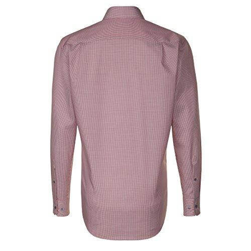 SEIDENSTICKER Herren Hemd Modern 1/1-Arm Bügelfrei Karo City-Hemd Kent-Kragen Kombimanschette weitenverstellbar orange (0068)