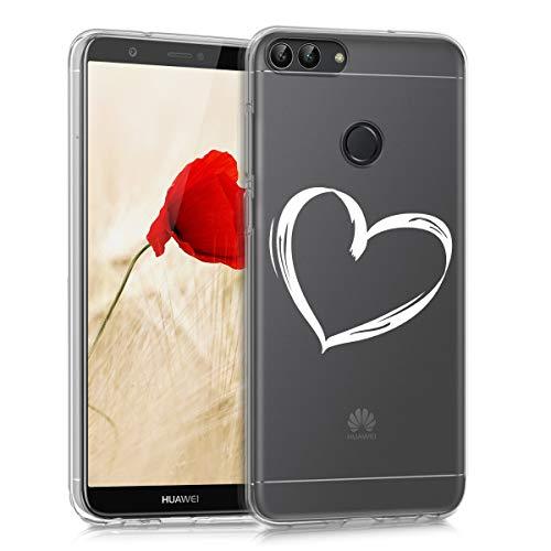 kwmobile Huawei Enjoy 7S / P Smart Hülle {TPU} für Handy & Motiv Herz in {weiß/transparent}