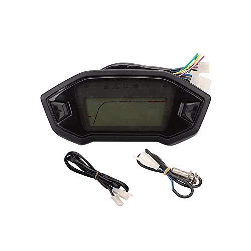 Motorrad Umbau Instrument fiktile Motorrad Instrumententafel Kilometerzähler Code Tabelle Drehzahlmesser geschwindigkeitDer Monitor Auto (Color : Black) -