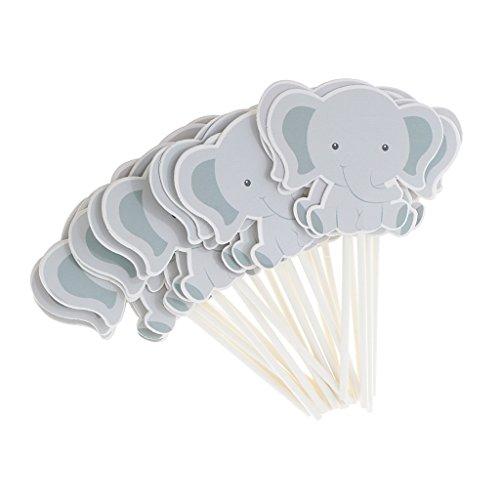 Homyl 24 Elefant Kraftpapier Cupcake Toppers Kuchendeko Tortendekoration Muffin Aufsatz Dekoration für Kuchen geeignet für Geburtstagsparty, Hochzeit und Babyparty