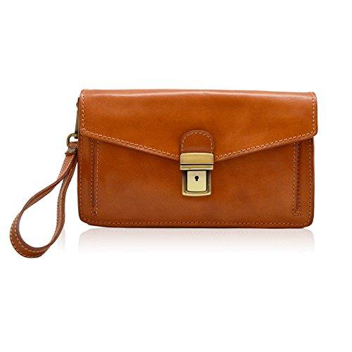 SIMON Herren Handtasche, Handtasche, Geldbörse mit doppeltem Geldbeutel, aktentaschen Leder hand sponged glänzend Gemüse gegerbt (Hellbraun) (Geldbeutel Känguru-tasche)