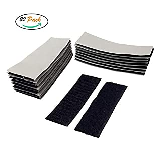 FUJIE 20 Pcs Velcro Tape Adhesive Foam Pads Reusable Double Sided Tapes Self Adhesive Sticky Tape Strong Strips Sticky Pads Self Adhesive Hook and Loop Tape, Black