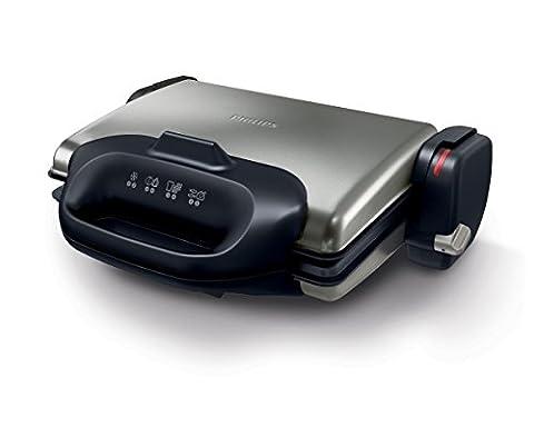 Philips HD4468/90 Kontaktgrill austauschbaren Waffelplatten, 2000 W, Temperaturauswahl bis 250 Grad,