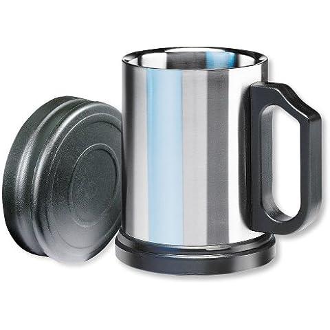 Isosteel VA-9557 - Taza térmica con tapa de plástico y base antideslizante extraíble, doble pared de acero inoxidable 18/8, 0,4 L, color plateado