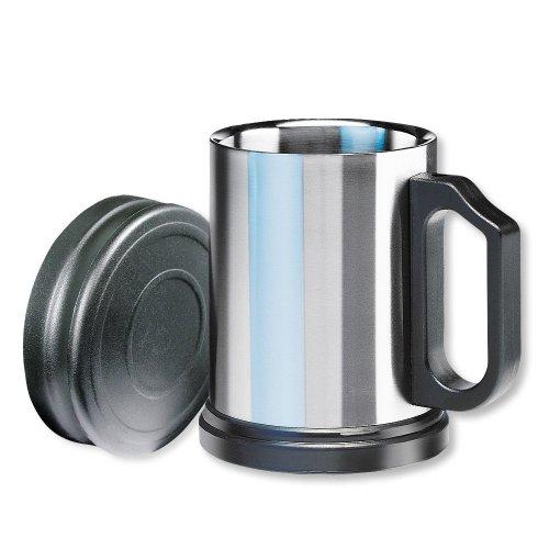 Isosteel VA-9557 Isolierbecher 0,4 L aus doppelwandigem 18/8 Edelstahl mit Kunststoffdeckel und abnehmbarem Anti-Rutsch-Boden
