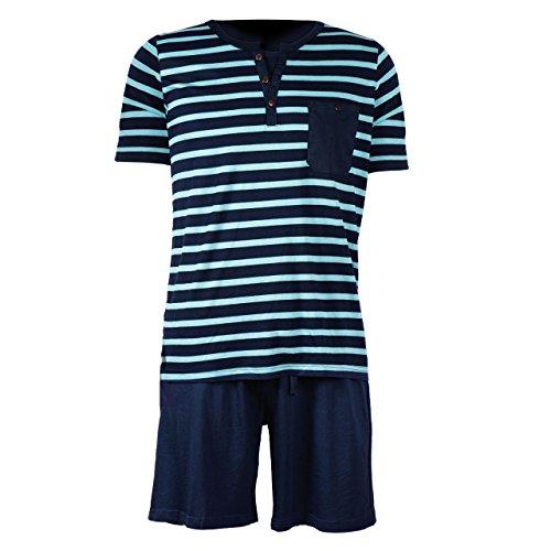 Herren Schlafanzug kurz Herren Pyjama kurz Herren Shorty Schlafanzug aus 50% Baumwolle 50% Modal (L 52/54, Grün/Blau)