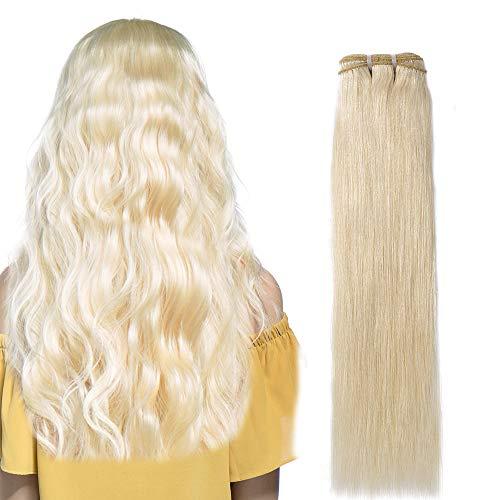 Human Hair Weave Glatt 100% Brasilianisches Virgin echthaar tressen Straight Remy Haarverlängerung #60 Platinblond (60cm -100g) - Echthaar Extensions 100 Nähen