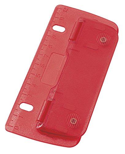 Wedo 67802 Taschenlocher (aus Kunststoff zum Abheften für 8 cm Lochung, mit 12 cm Skala) rot