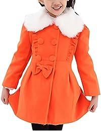 Amurleopard Trench coat long manteau fille col fourrure automne hiver