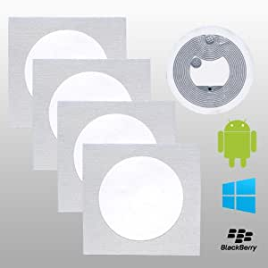 5 NFC Tag Sticker   NTAG203   168 bytes / 137 bytes Nutzspeicher   Weiß   25mm rund   Original NXP
