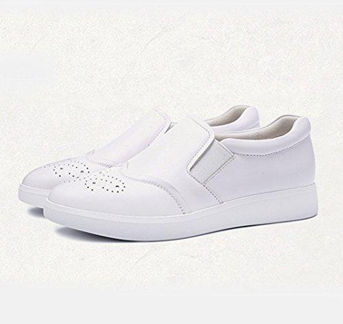 Damen Slipper Slip On Rundzehen Brogue Stil Atmungsaktiv Freizeit Flache Weiß-Schuhe Einfache Bequeme Schuhe Weiß