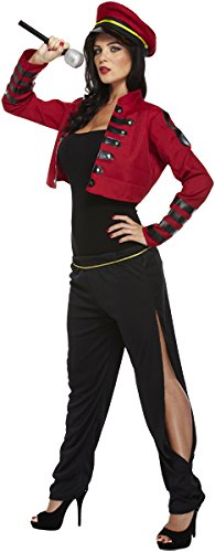 Emmas Garderobe Pop Richter Abendkleid-Kostüm- Iconic Gesang Popstar Frauen Outfit- Inklusive Red Jacke, Schwarze Hose und Red Hat, - Noughties Kostüm für Retro Events - UK Größe 8-14 (Women: 38, ()