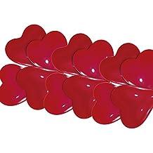 Amscan–20cm 10globos de látex (tamaño pequeño, 250ml), diseño de corazones, color rojo