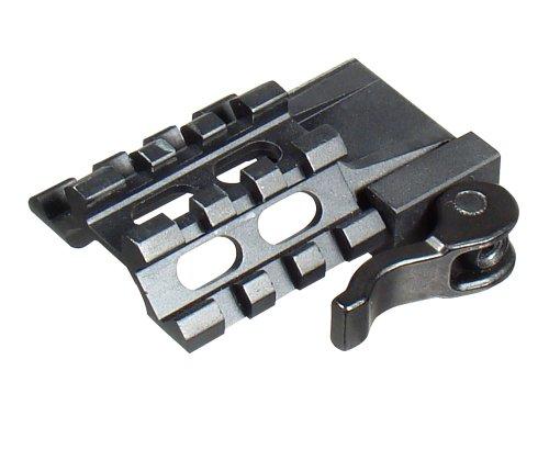 UTG Tri-Rail 3-Slot Winkelmontage Angle Mount mit integrierter Picatinny QuickDetach Montage, Schwarz, MAT032263 Taktische Hebel