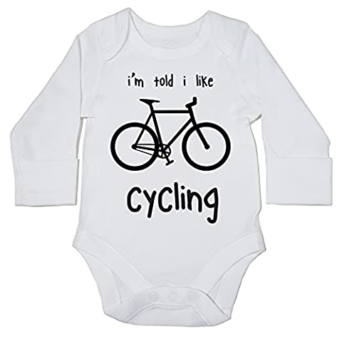 HippoWarehouse I'm Told I Like Cycling baby bodysuit (long sleeve) boys girls