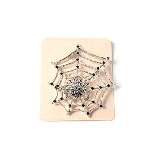 WL Fashion Silberfarbene Brosche Spinne im Spinnennetz mit schwarzen Steinen 070-00140