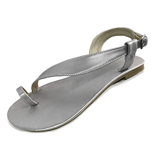 Römisch Flache Badesandale Sandalen Clip Toe Flip Flop Zehentrenner Schuhe Übergröße Sommerschuhe Strandschuhe Pantoletten F Silber 35 EU ()