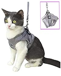 Anlitent Soft Mesh No Pull Cat Harness and Lead Set for Walking, Escape Proof Kitten Vest Harnesses for Small Animals Rabbit/Mouse/Cats, Cool Cat Collar XS (X-Smal, Grey)