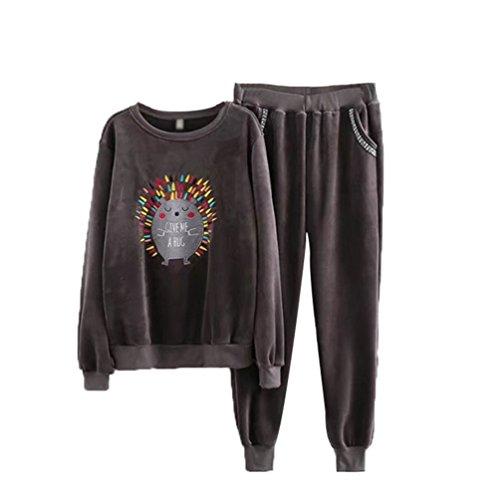 YiLianDa Costumes Sport Mode Femme Classique Velours Sweats Tops + Pantalons Joggings Survêtements 2pcs Gris
