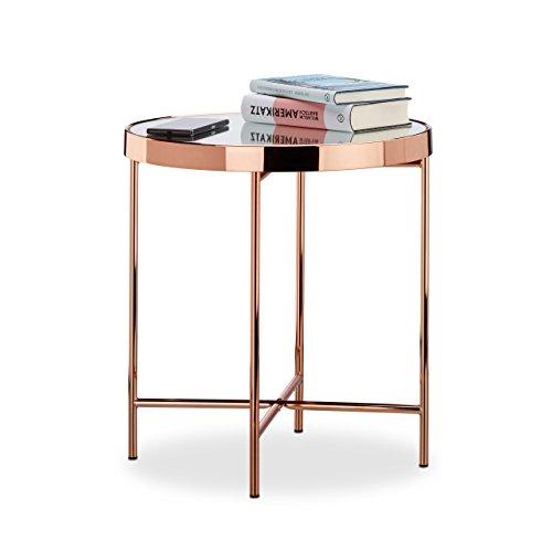 Relaxdays Beistelltisch Kupfer, Glas verspiegelt, Beistelltisch, Spiegelglas, edel, modern, HBT: 46 x 42 x 42 cm, kupfer (Stühlen Runder Tisch Mit Kaffee)