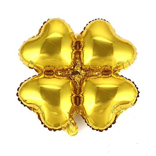 RZRCJ Luftballons (Spielzeug) 10 Stücke 18 Zoll Klee Herzförmige Folienballons Bögen Spalte Halterung Ballon Hochzeit Geburtstag Urlaub Party Dekoration Globos, Gold
