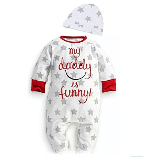 Puseky - Completino per neonati con tutina a maniche lunghe e berretto, motivo con stelle 0~6  Mesi