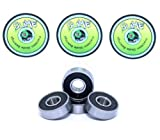 4 x TITANIUM SLIME - ABEC 9 608 RS Water Resistant Rubber Seal Skateboard / Stunt Scooter / Inline Skate Bearings