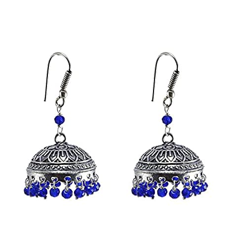 Bollywood Belly Dance Women Party Wear Jhumki Chandelier Earring With Smal Blue Crystals PG-105254