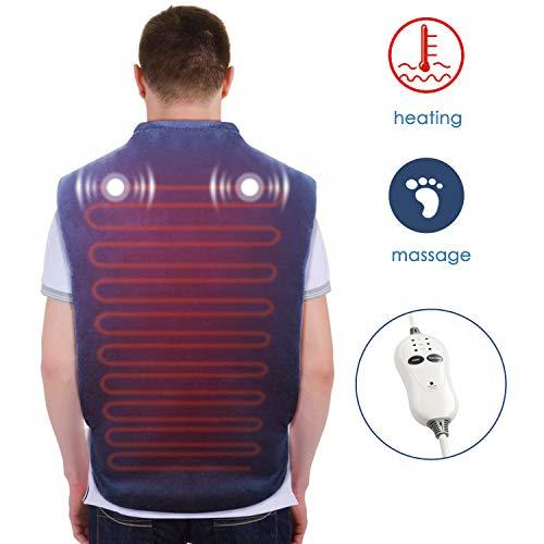 Laxycare Massage Heizkissen für Rücken Nacken Schulter Wärmekissen Elektrisch mit Abschaltautomatik und 3 Temperaturstufen, 83 x 65 cm, Überhitzungsschutz